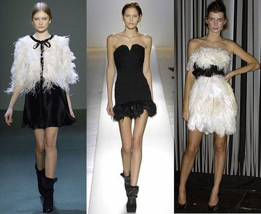 Feathers at Andrew Gn, Balmain, Marchesa.